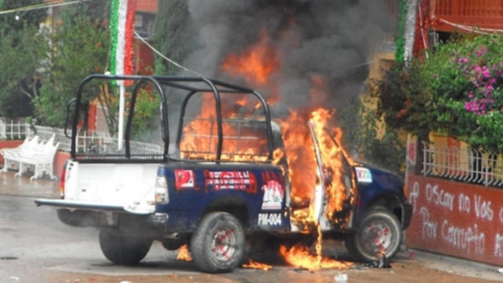 patrulla incendiada en motozintla