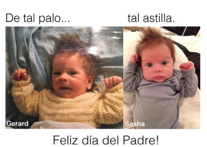 La cantante colombiana mostró a sus seguidores que su novio y su segundo hijo son tal para cual con esta tierna foto.