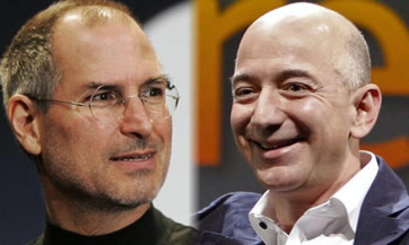 Steve Jobs, de Apple, y Jeff Bezos, de Amazon, dos emprendedores que lograron triunfar también como empresarios. (Foto: Especial)