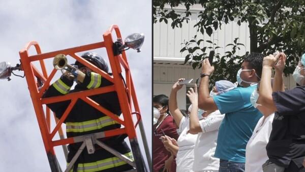 Bomberos levantan el ánimo a ritmo de trompeta en un hospital de Quito