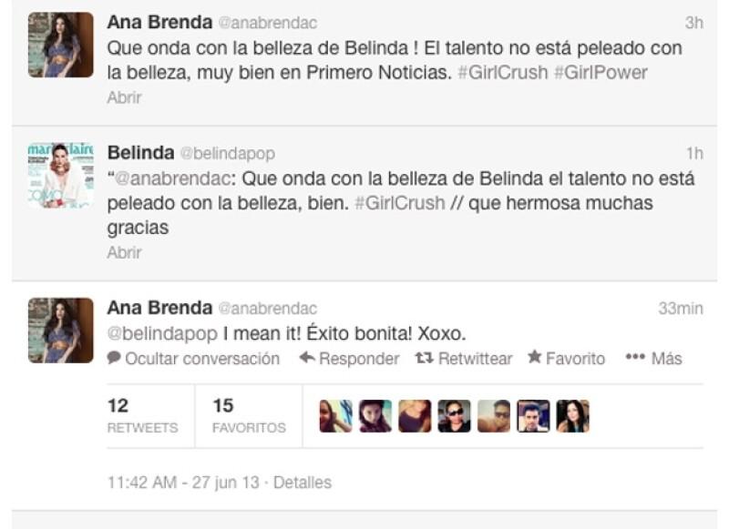 La actriz reconoció el talento y la belleza de la cantante por medio de un tuit en el que expresó su admiración por Belinda y su actuación en un noticiero matutino.