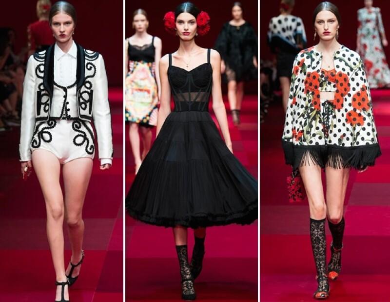 La firma italiana experimenta con una colección inspirada en los símbolos españoles más significativos, como lo son el flamenco, trajes de torero, tocados en la cabez, etc.