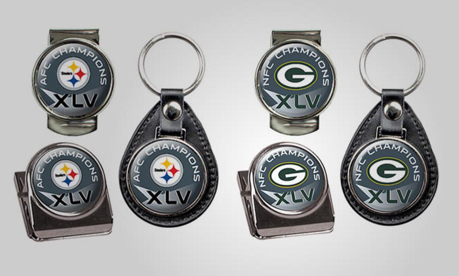 Lleva la pasión por tu equipo hasta en tu llavero, con esta serie de accesorios diseñados para los dos conjuntos. Precio: 24 dólares.  Todos los artículos están disponibles en el sitio www.nfl.com
