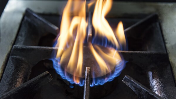 Natural gas burning a blue flames.