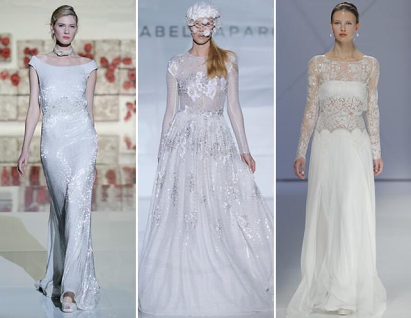 Para 2017, diseñadores como Jesus Peiró, Izabel Zapardiez y Rosa Clará llevan vestidos con toques metálicos en plateado.