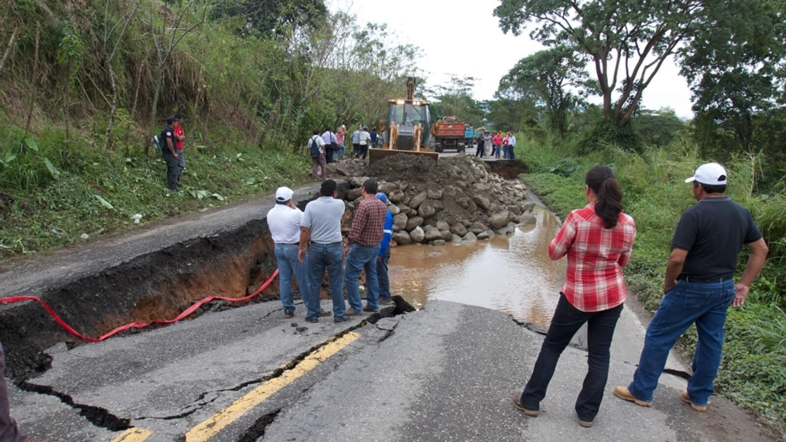 colapso de carretera en chiapas