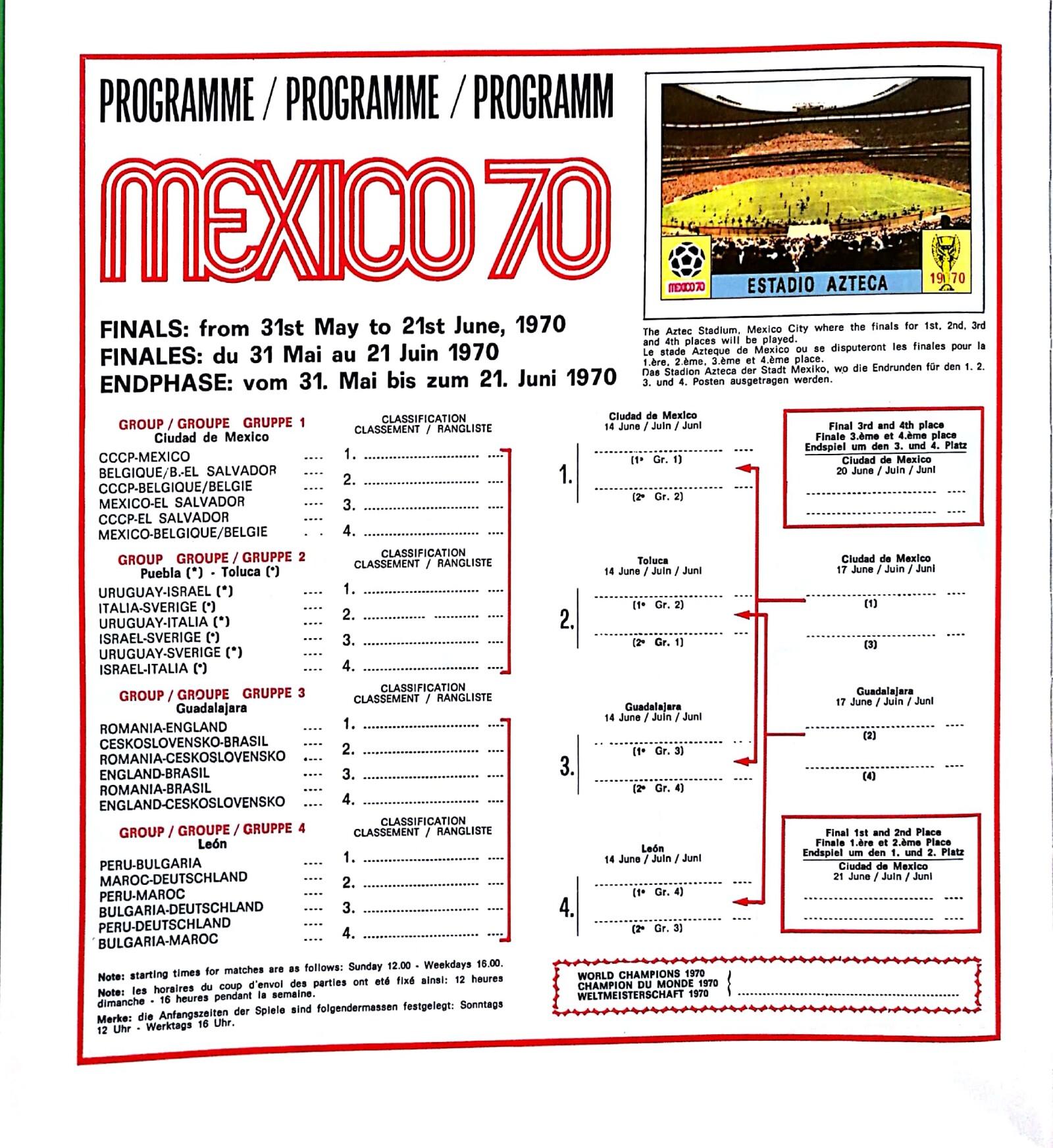 Mundial México Panini 1970
