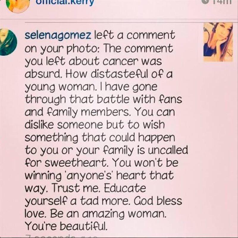 Este fue el mensaje que Selena publicó contra la usuaria de la red.