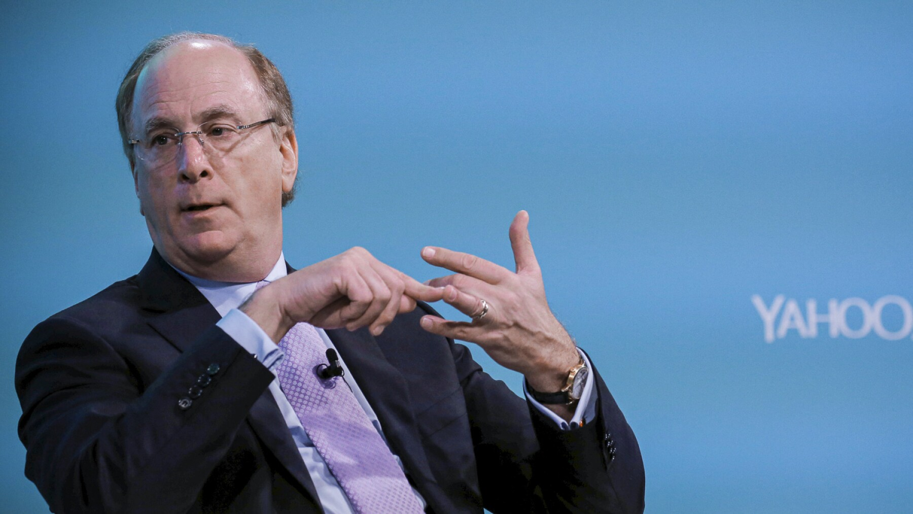 Larry Fink, Chief Executive Officer of BlackRock, takes part in the Yahoo Finance All Markets Summit in New York