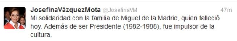 Josefina Vázquez Mota enfatizo el impulso a la cultura que realizó Miguel De La Madrid.