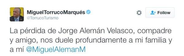 Además, dio el pésame a Miguel Alemán Magnani.