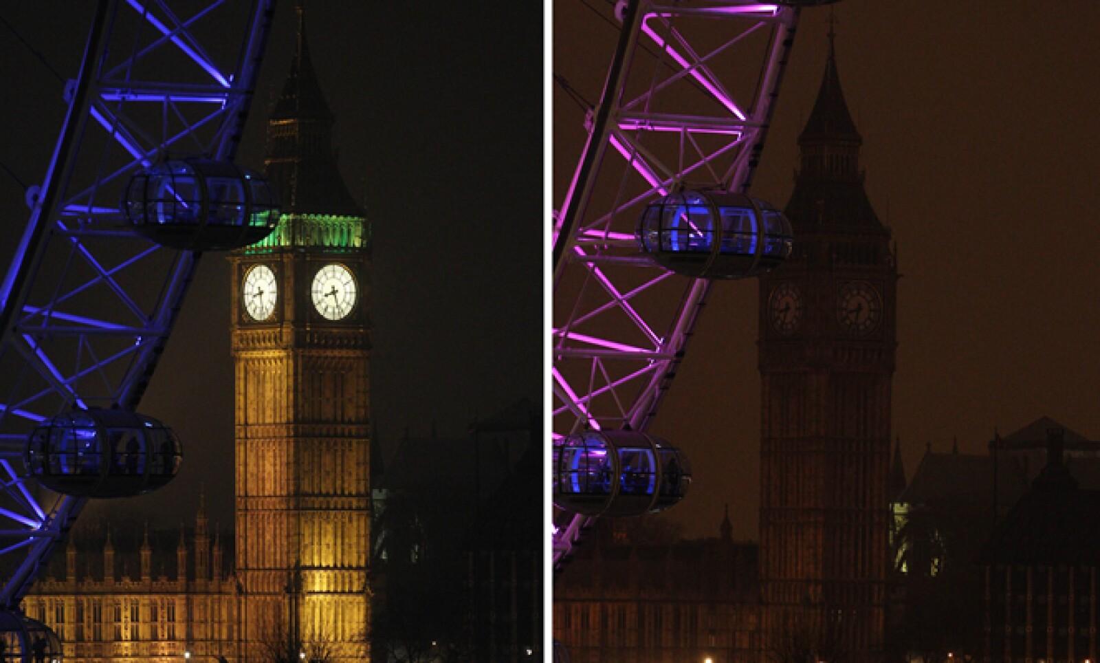 Parte de la Torre Isabel, que alberga el Big Ben en la Cámara del Parlamento de Londres. La iniciativa busca llamar la atención sobre el cambio climático.