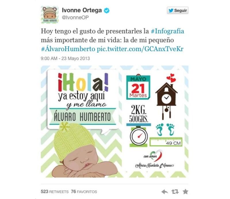 La secretaria general del Comité Ejecutivo Nacional del PRI, Ivonne Ortega, anunció a través de su cuenta de Twitter el nacimiento de su hijo.