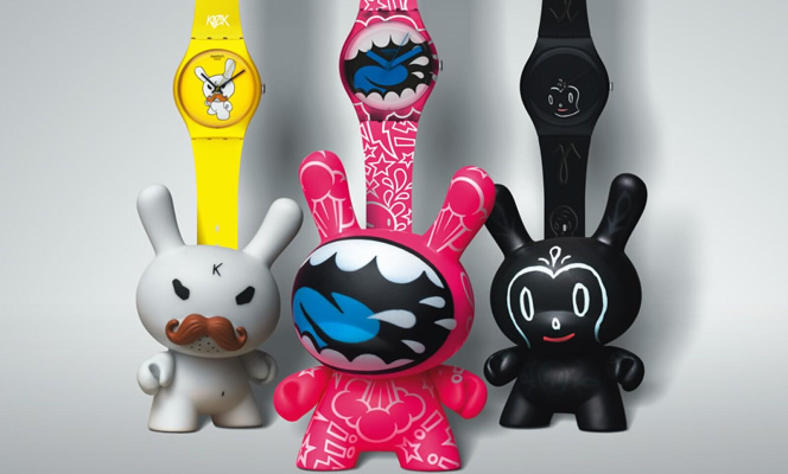 En esta nueva colección han colaborado ocho artistas con un original diseño para el reloj y su respectivo Dunny de 7.6 cm (3 pulgadas).