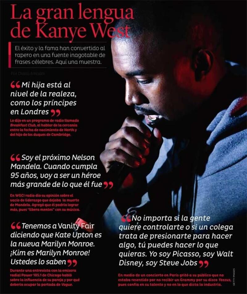 El cantante no se detiene ante nadie ni nada para decir lo que piensa; algunas frases son un tanto egocéntricas, pero... es Kanye.
