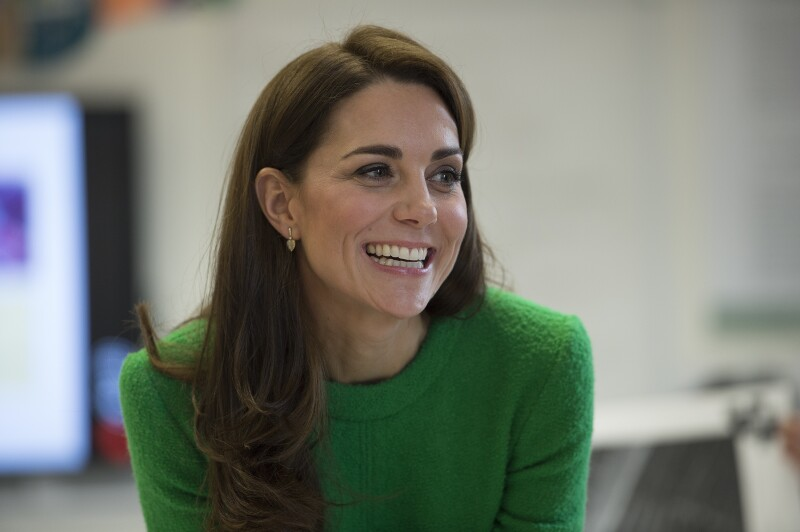 Kate Middleton en abrigo retro color verde