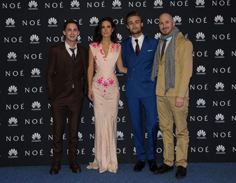 El elenco de Noé: Logan Lerman, Jennifer Connelly, Douglas Booth y el director Darren Aronofsky.