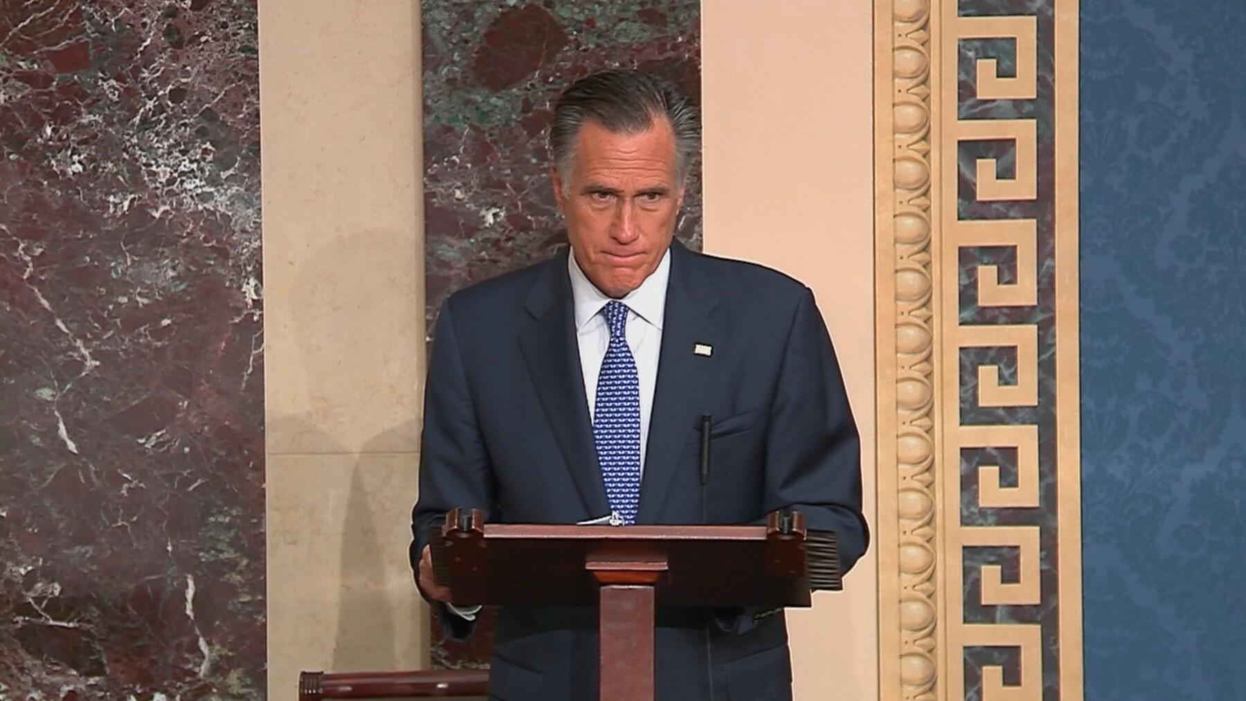 U.S. Senator Romney announces voting intentions in Trump impeachment trial during Senate debate at the U.S. Capitol in Washington