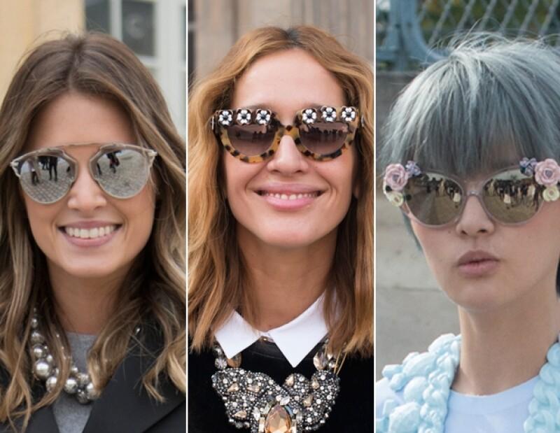 Charlotte Christensen en lentes Céline, Tiany Kirlloff en Miu Miu y Ju Lee con Spectre sunglasses.