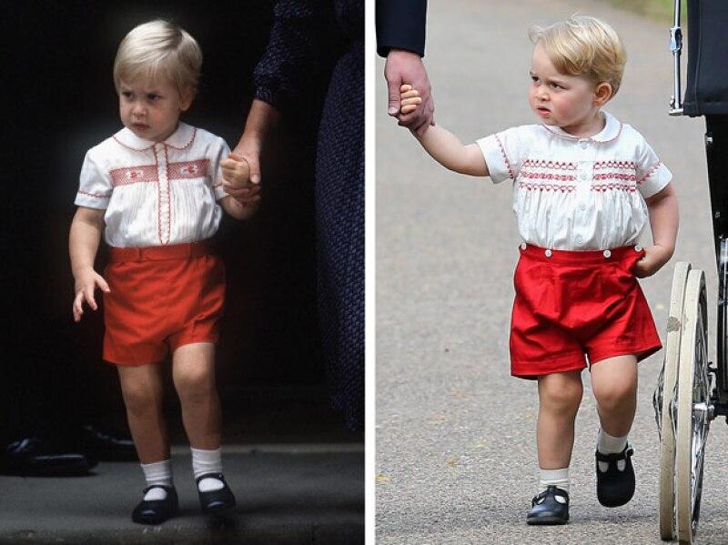 Baby George ha sido vestido igual a su papá, el príncipe William, en más de una ocasión.