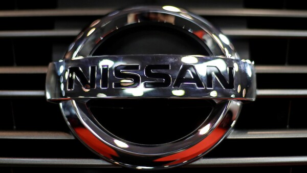 FILE PHOTO: The logo of Nissan is seen on a car during the Prague Autoshow