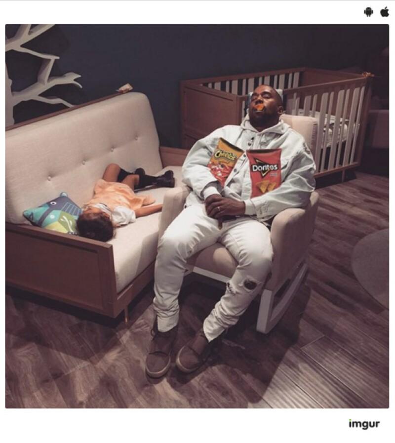 Kanye West después de comer mucha comida chatarra.