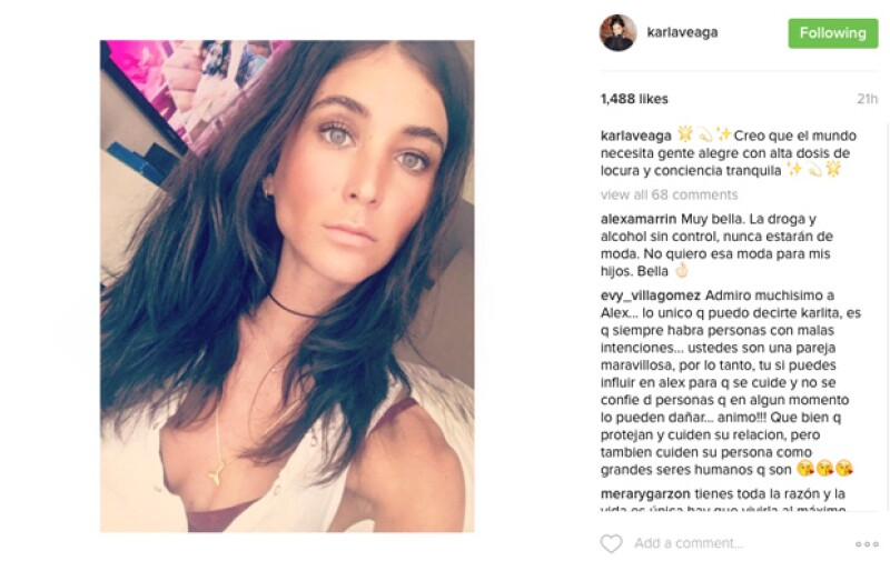 Karla Laveaga publicó este mensaje el día en que la foto de Alejandro Fernández se hizo viral.