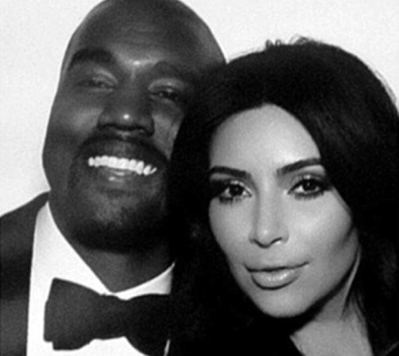 Kanye y Kim durante la recepción de su boda este sábado 24 de mayo.