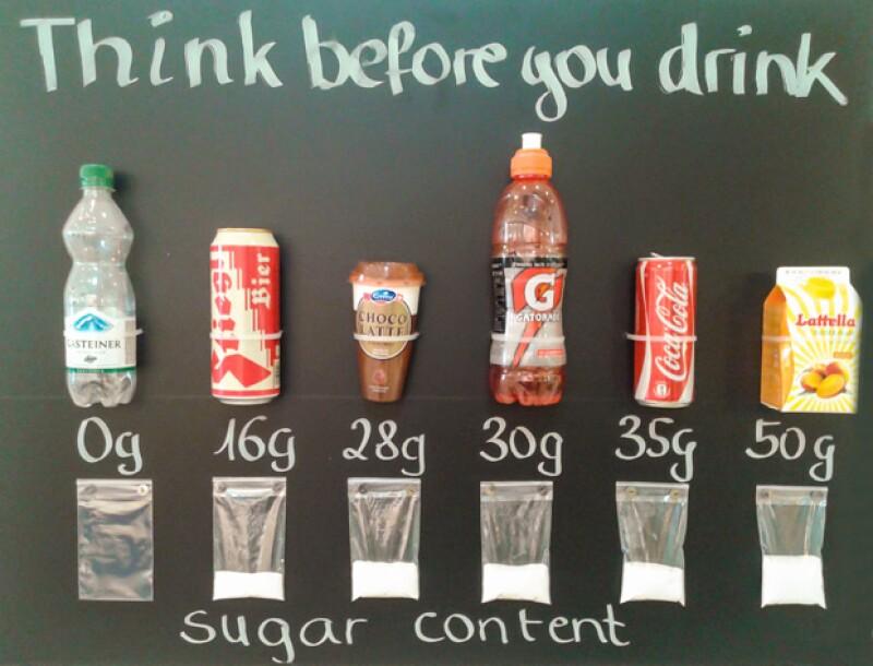 Piensa antes de tomar alguna de estas bebidas. Fíjate en la comparación de azúcar por cada 100 gr.
