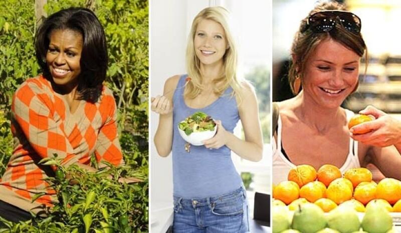 Michelle Obama, Gwyneth Paltrow y Cameron Diaz utilizan su fama para promover una alimentación sana.