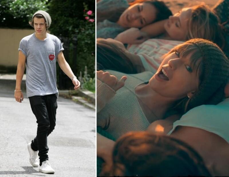 En un fragmento del clip Taylor  tiene un estilo sospechosamente similar al que a menudo se ve en el cantante de One Direction.