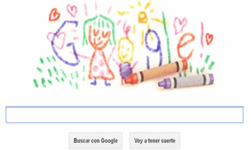 El doodle de Google se parece a los dibujos que hacen los niños con crayolas. (Foto tomada de Google)