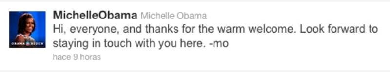 La primera dama apoyará por medio de la red social, la campaña de reeleción de su esposo Barack Obama.