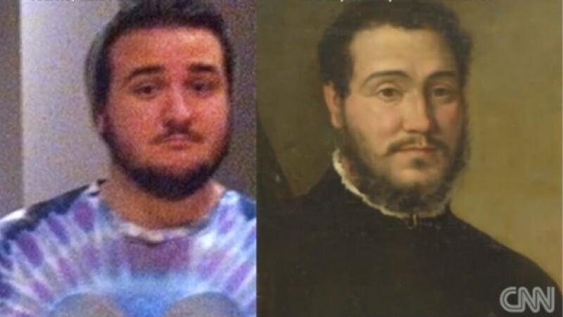 doble, hombre, foto, pintura
