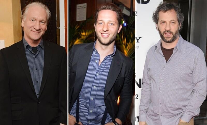 El presentador de televisión Bill Maher, el editor Derek Blasberg y el productor Judd Apatow