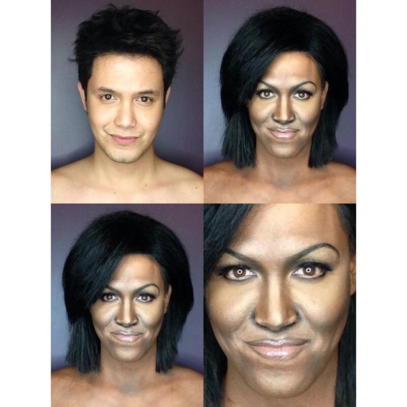 Esta es la imagen que el maquillista subió a su Instagram al haber terminado de caracterizarse como Michelle Obama.