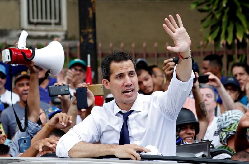 El lider opositor Juan Guaidó  en un mitín contra el presidente de Venezuela, Nicolás Maduro.