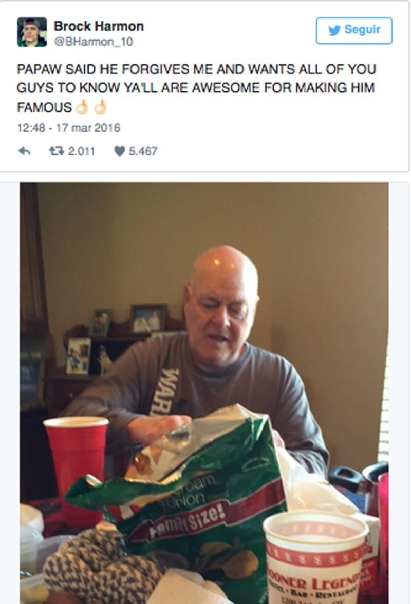 Esta es la foto que posteó el nieto que sí fue a ver a su abuelo al siguiente día.