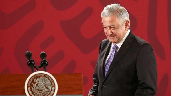 Mexico's President Andres Manuel Lopez Obrador holds a news conference at the National Palace