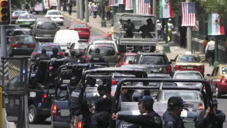 Miles de elementos resguardan la zona de Polanco en el DF, donde el presidente de Estados Unidos, Barack Obama, y su comitiva realizarán sus actividades los días 16 y 17 de abril.