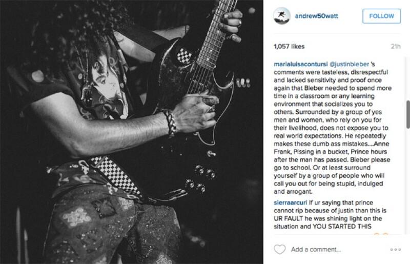 Los usuarios de Instagram de inmediato reaccionaron en contra al comentario de Justin.