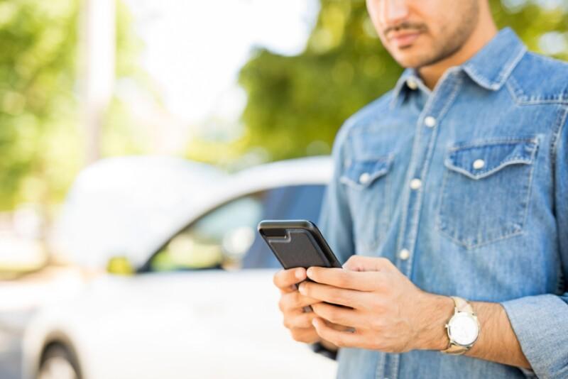 Man calling roadside assistance