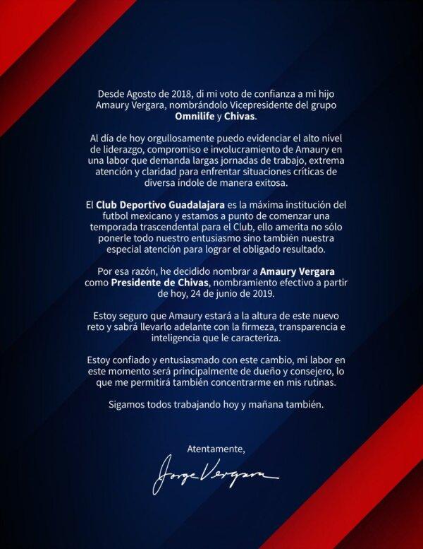 Comunicado, Chivas Omnilife