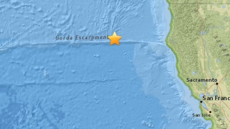 el epicentro estuvo ubicado a 253 kilómetros al oeste de Fernale y a 534 kilómetros al oeste-noroeste de Sacramento, California