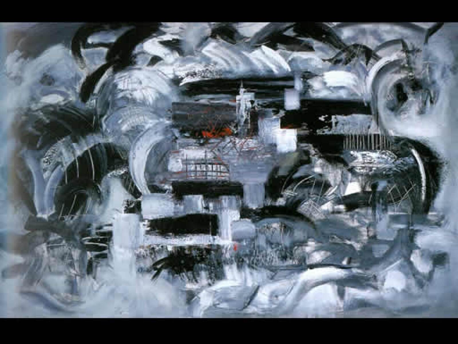 """El pintor zacatecano opina: """"algunas de sus obras están plenamente logradas"""". """"Ciudad ardiente"""", 2004, acrílico sobre tela, 120 x 180 m"""