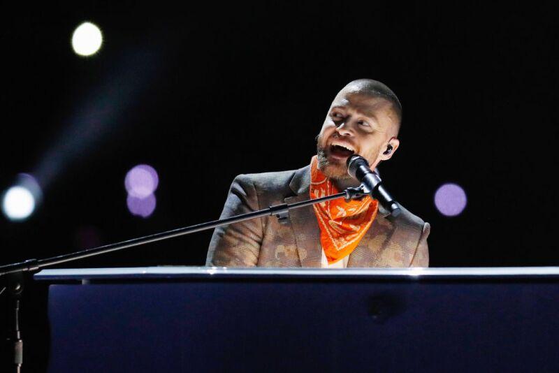 Justin Timberlake durante el medio tiempo del Super Bowl LII