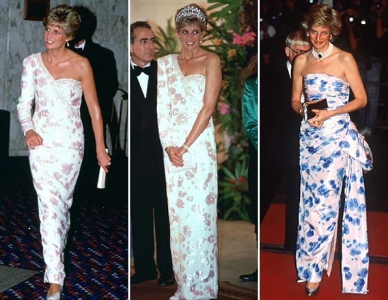 Aún hace veinte años, los reflectores que estaban encima de Diana notaban cuando volvía a usar un outfit. El vestido de la derecha lo usó para la premiere de `Crocodile Dundee´ y su secuela un par de años después.
