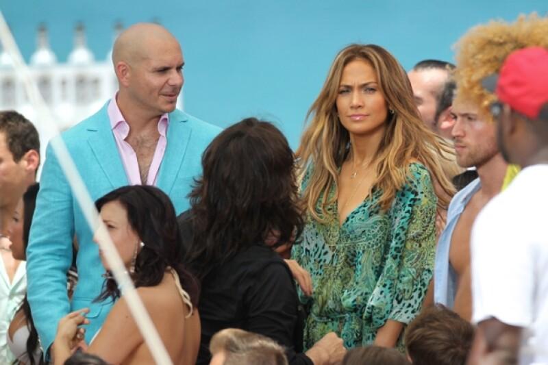 Jennifer Lopez estuvo filmando su último video junto a Pitbull en Fort Lauderdale..