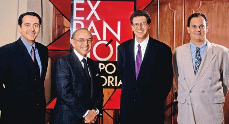 LOS CREADORES. Alejandro y Clemente Serna con John Reuter y Javier Martínez.