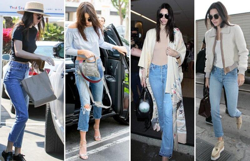 Actualmente los jeans son la principal prenda que usamos debido a su comodidad y sus múltiples diseños. Kendall Jenner es una de las it girls que han impuesto estilos desde jeans acampanados, hasta los moomy jeans.